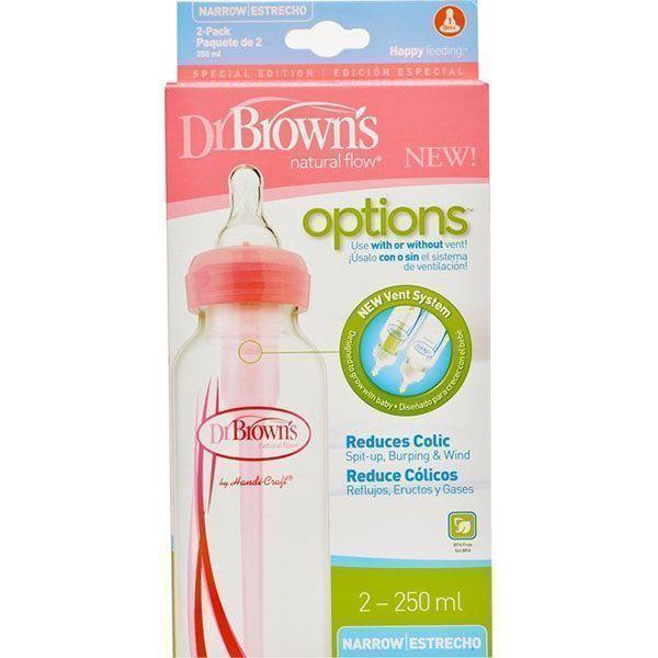 شیشه شیر طلقی دکتر براون ۲۵۰ میلیلیتر ۲ عددی صورتی