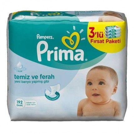 بسته بندی لباس بچه در منزل دستمال مرطوب کودک ۳ بسته۶۴ تایی پمپرز پریما - فروشگاه ...