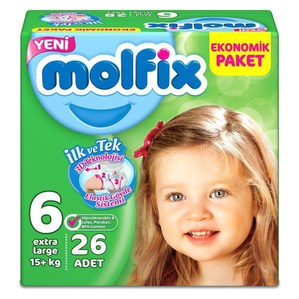پوشک مولفیکس ترک سایز 6 بسته 26 عددی