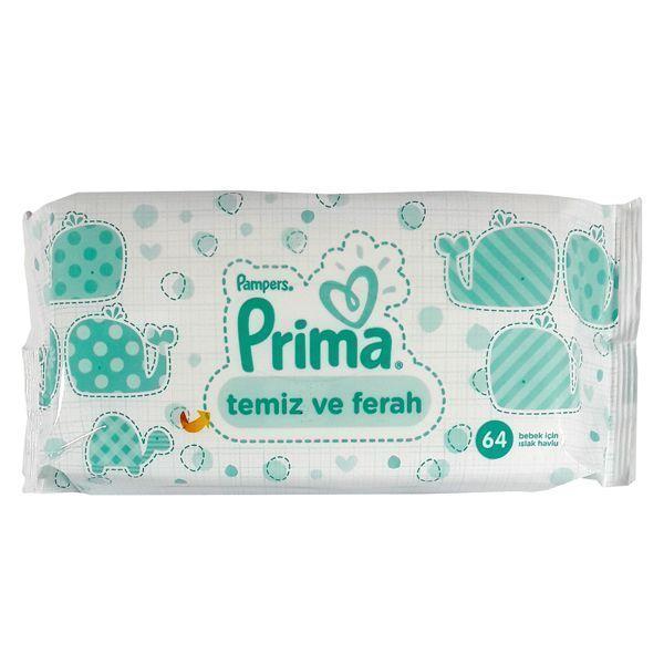 دستمال مرطوب پریما (Prima) بسته 64 عددی