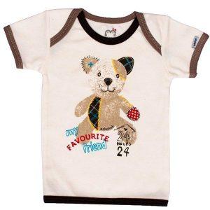تی شرت پسرانه آستین کوتاه آدمک طرح خانه و خرس