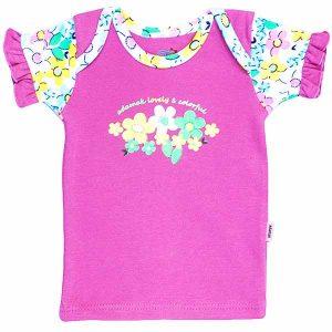تی شرت دخترانه آستین کوتاه آدمک طرح گل های رنگارنگ