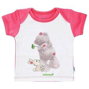تی شرت دخترانه آستین کوتاه آدمک طرح خرس صورتی