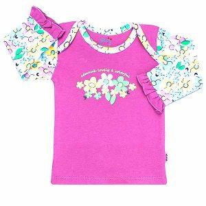 تی شرت دخترانه آستین بلند آدمک طرح گل های رنگارنگ