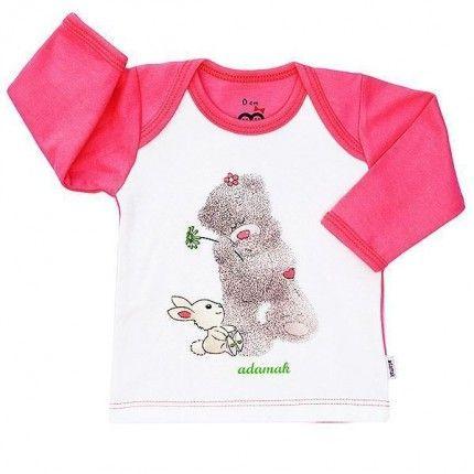 تی شرت دخترانه آستین بلند آدمک طرح خرس صورتی
