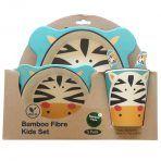 ست 5 تکه ظرف غذای کودک بامبو طرح zebra