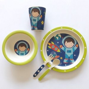 ست 5 تکه ظرف غذای کودک بامبو طرح space