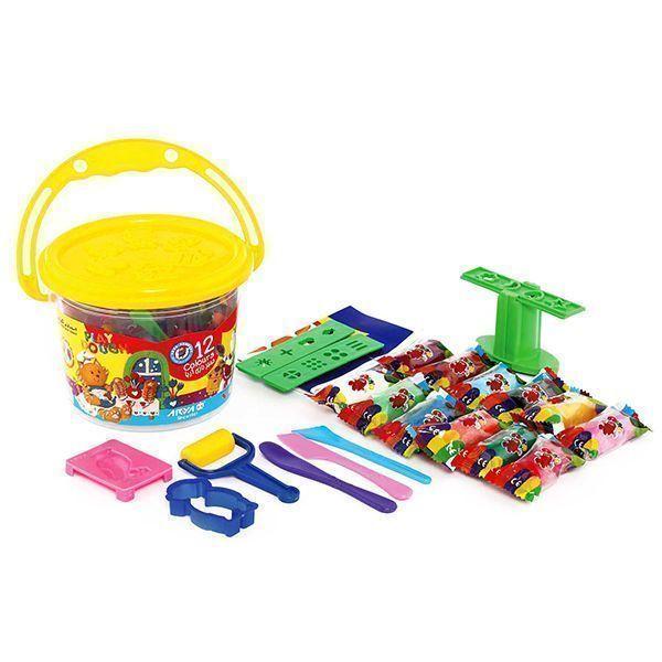 خمیر بازی آریا مدل سطلی 12 رنگ همراه سی دی