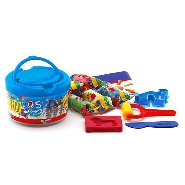خمیر بازی آریا مدل سطلی 5 رنگ