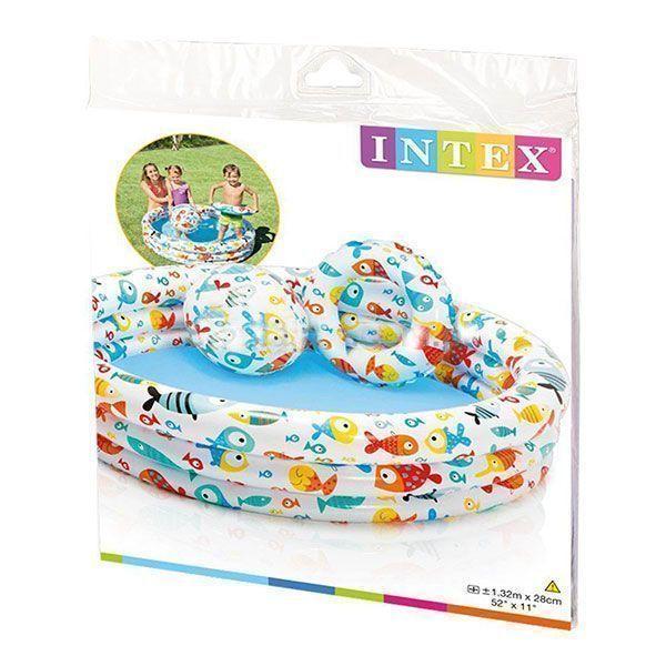 استخر بادی کودک با توپ و حلقه اینتکس Intex