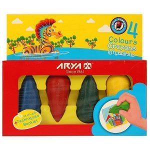 مداد شمعی 4 رنگ آریا مدل کرایون دوکی