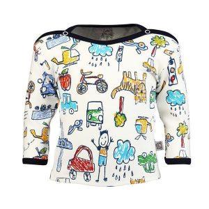 تی شرت اسپرت آستین بلند لیدولند طرح مداد رنگی سرمه ای