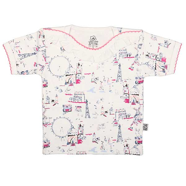 تی شرت دخترانه آستین کوتاه لیدولند طرح چرخ و فلک