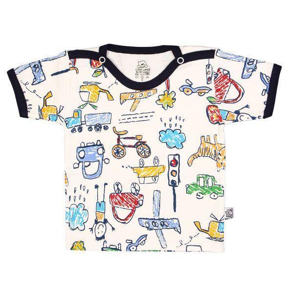 تی شرت اسپرت آستین کوتاه لیدولند طرح مداد رنگی سرمه ای