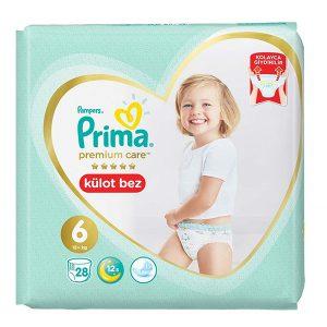 پوشک شورتی پریما ضد حساسیت سایز ۶ بسته ۲۸ عددی