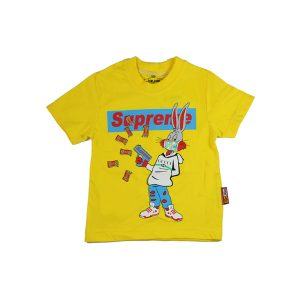 تیشرت اسپرت آستین کوتاه تاپ کیدز طرح خرگوش زرد