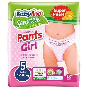 پوشک شورتی دخترانه بیبی لینو سایز 5 بسته 18 عددی