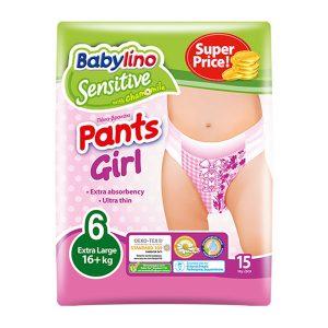 پوشک شورتی دخترانه بیبی لینو سایز 6 بسته 15 عددی