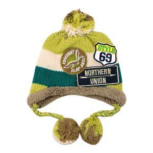 کلاه بافتنی بچه گانه طرح راه راه سبز