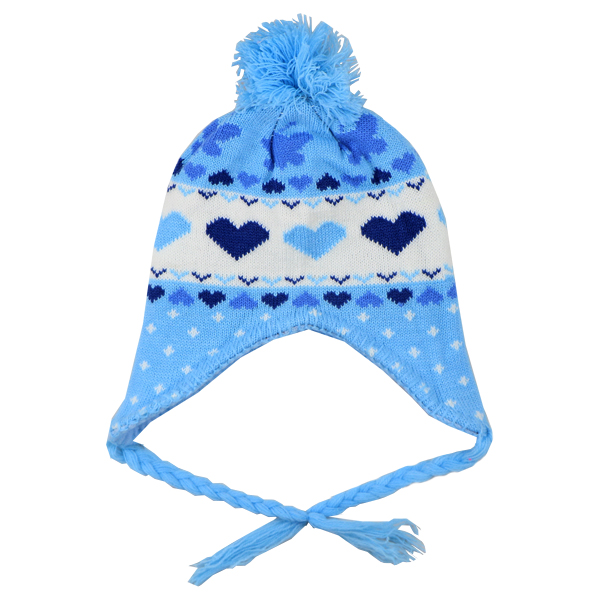 کلاه بافتنی بچه گانه طرح قلب آبی