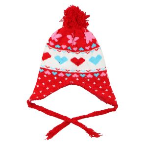 کلاه بافتنی بچه گانه طرح قلب قرمز