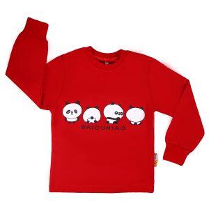 تیشرت اسپرت آستین بلند تاپ کیدز طرح پاندا قرمز