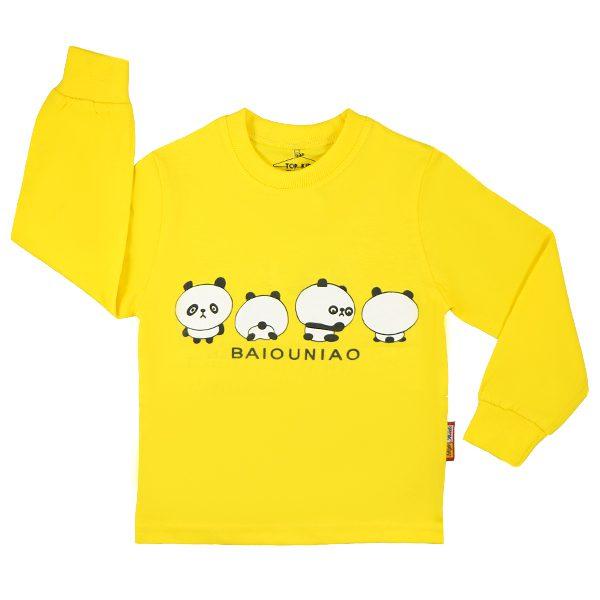 تیشرت اسپرت آستین بلند تاپ کیدز طرح پاندا زرد