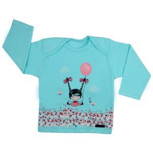 تی شرت دخترانه آستین بلند کوکالو طرح دختر و بادکنک