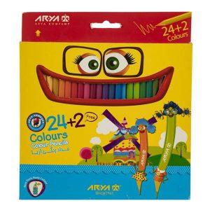 مداد رنگی آریا 24+2 رنگ کد 3017