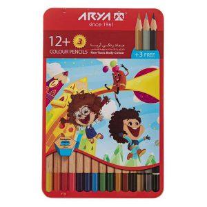 مداد رنگی آریا 12+3 رنگ کد 3021