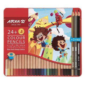 مداد رنگی آریا 24+3 رنگ کد 3022