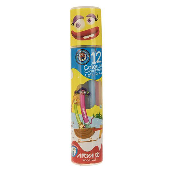 مداد رنگی آریا Arya بسته 12 رنگ استوانه ای