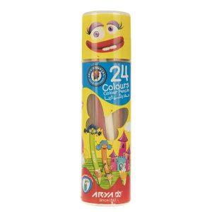 مداد رنگی آریا Arya بسته 24 رنگ استوانه ای