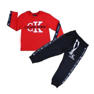 ست تی شرت و شلوار پسرانه تاپ کیدز طرح CK قرمز