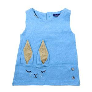 پیراهن دخترانه تودوک طرح خرگوش آبی