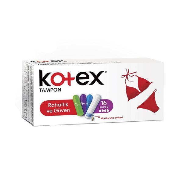 تامپون کوتکس Kotex مدل Super بسته ۱۶ عددی با جذب بالا