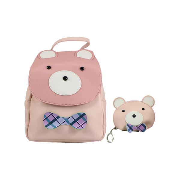 کوله پشتی و کیف پول بچه گانه مدل چرم طرح خرس