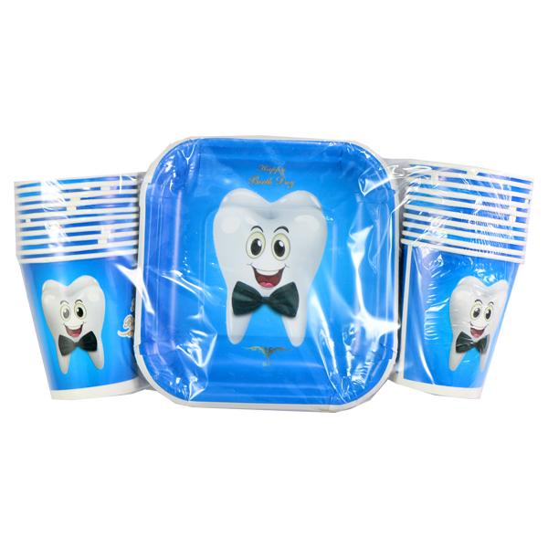 ست ظرف پذیرایی و لیوان جشن دندانی آبی