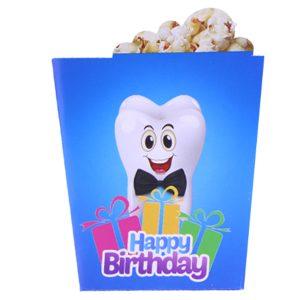 ظرف پاپ کورن تولد طرح دندانی آبی
