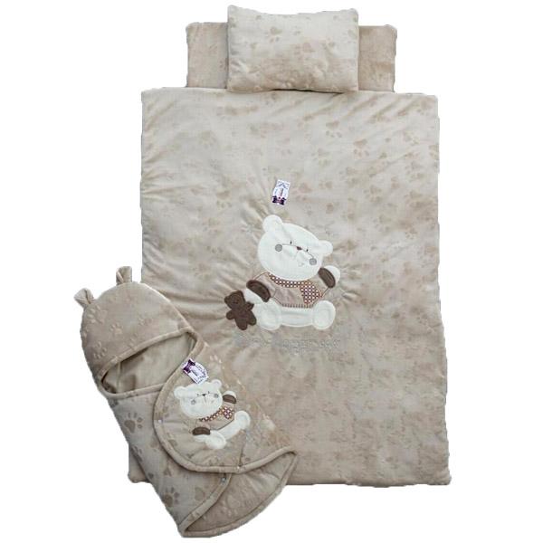 سرویس خواب چهار تکه bebek طرح خرس رنگ شکلاتی