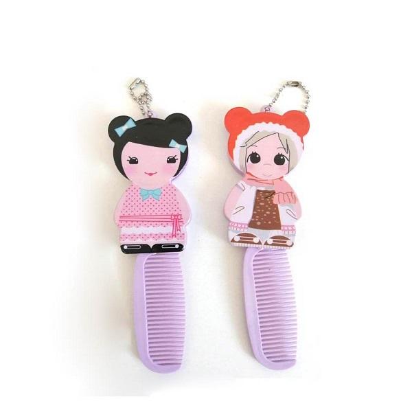ست شانه و آینه تاشو کودک مدل عروسکی