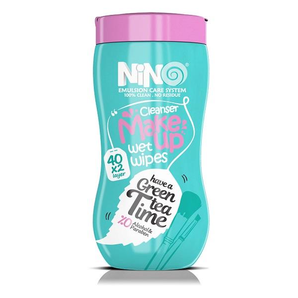 دستمال مرطوب پاک کننده آرایش چای سبز نینو 40 عددی
