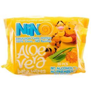 دستمال مرطوب نرم کننده و پاک کننده کودک نینو 20 عددی