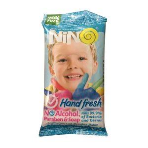 دستمال مرطوب پاک کننده دست و صورت کودک نینو 10 عددی