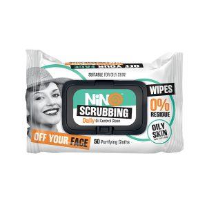 دستمال مرطوب پاک کننده آرایش روزانه نینو ضد جوش 50 عددی