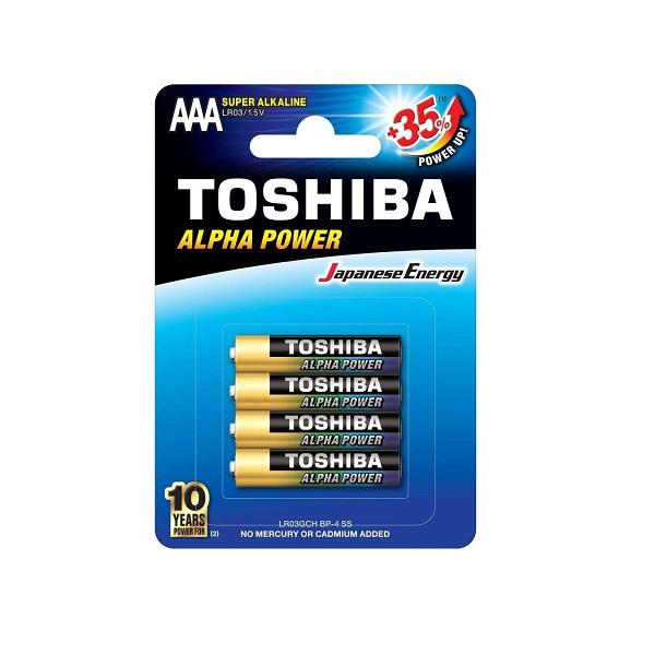 باتری نیم قلمی TOSHIBA مدل ALPHA POWER بسته 4 عددی