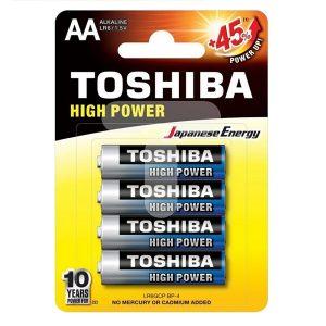 باتری قلمی TOSHIBA مدل HIGH POWER بسته 4 عددی