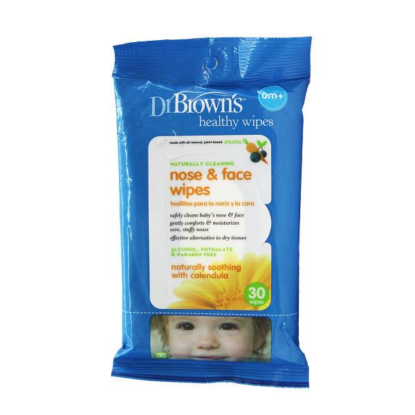 دستمال مرطوب پاک کننده صورت و بینی کودک دکتر براون 30 عددی