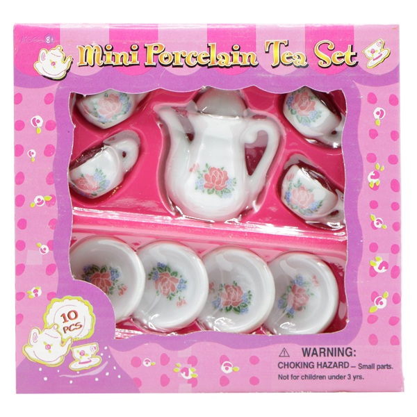 ست 10 تکه چای خوری اسباب بازی طرح گل صورتی (مینیاتوری)