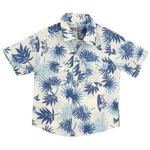 شومیز پسرانه دو جیب HOBON طرح هاوایی رنگ کرم
